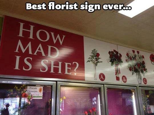 Funny Memes: best florist sign ever