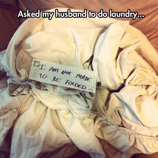 Funny Memes - husband doing laundry