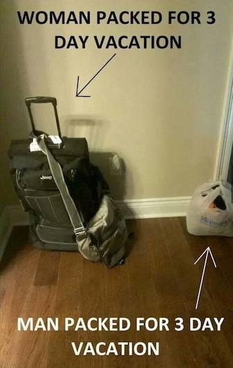 Funny Memes - women vs men packing