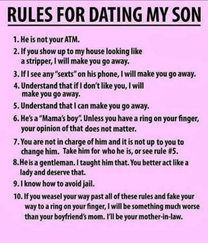 Funny Memes - dating my son rules