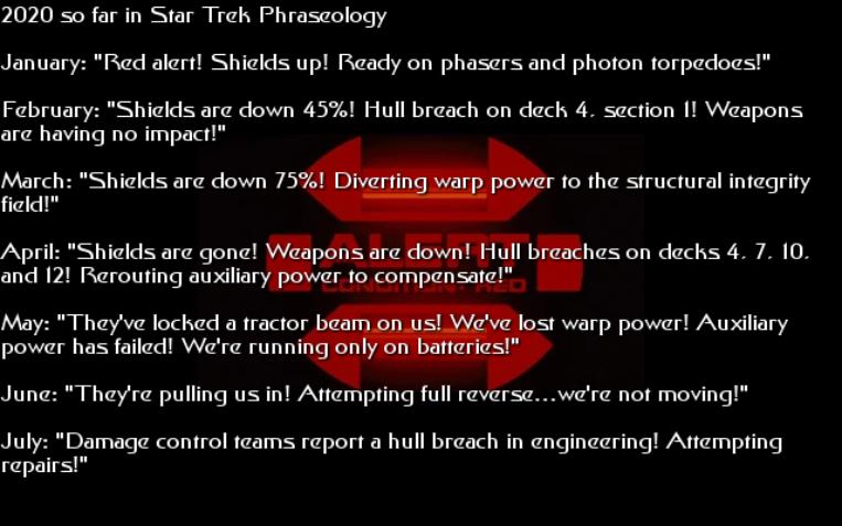 2020 So Far in Star Trek Phraseology
